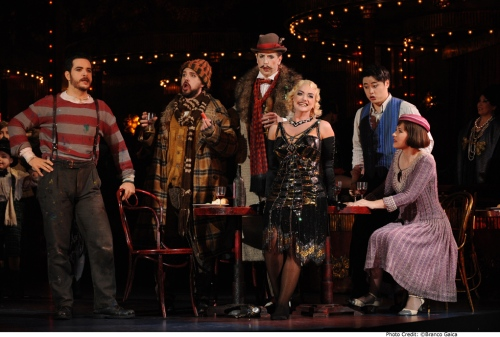 Giorgio Caoduro as Marcello, Richard Anderson as Colline, Shane Lowrencev as Schaunard, Sharon Prero as Musetta, Ji-Min Park as Rodolfo & Nicole Car as Mimì. Photo credit Branco Gaica.